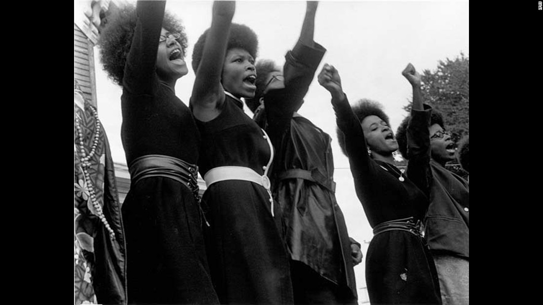 Black Panthers demonstrate in Oakland, California. The group created free breakfast programs for poor kids and free health clinics for the needy. It also produced a Black Panther newspaper that reaches thousands of readers at the group's peak.<br />