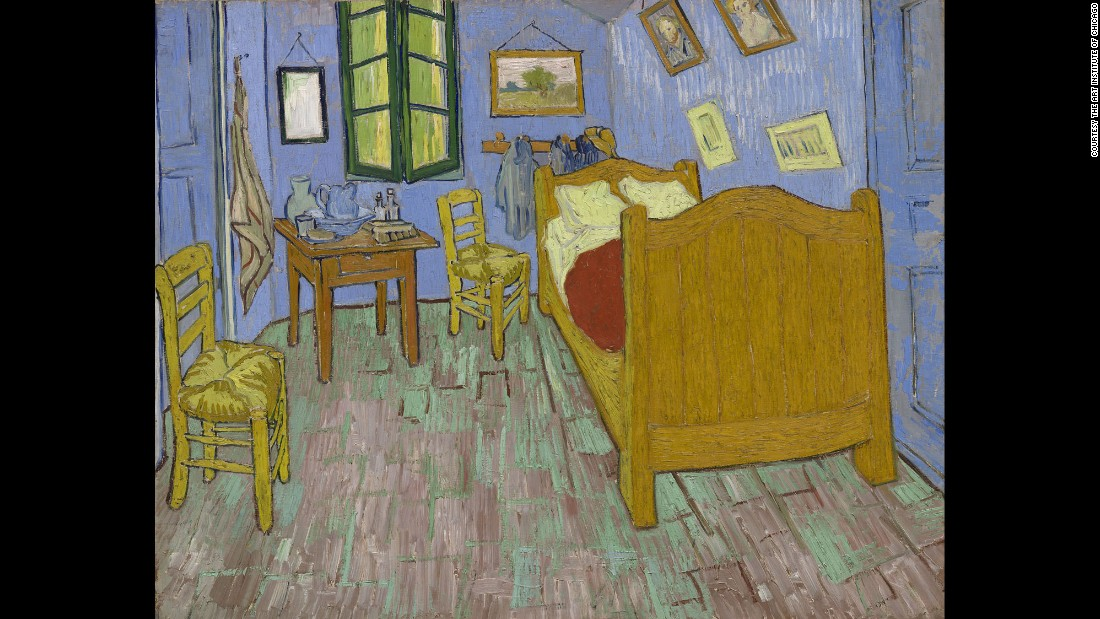 """The Bedroom,"" painted in 1889 by Vincent Van Gogh, is part of The Art Institute of Chicago's collection. A new exhibit at the museum also features two additional paintings of the room."