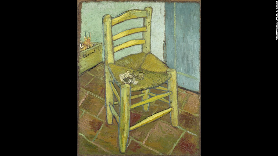 "The 1888 painting ""Van Gogh's Chair,"" on loan from London's National Gallery, is also featured in the exhibition."
