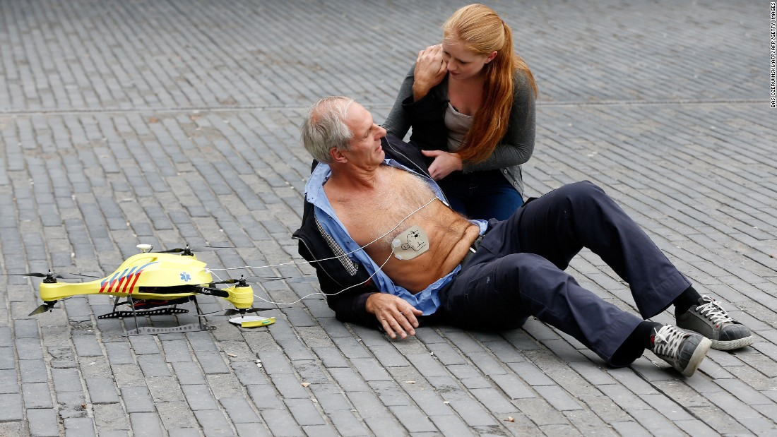These small medical drones can fly at the speed of 100 km and aim to quickly deliver a defibrillator to patients suffering from a heart attack.