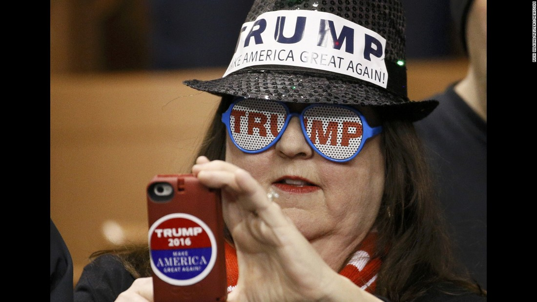 "A Donald Trump supporter takes a photo on her phone as she attends a campaign rally in Manchester, New Hampshire, on Monday, February 8. Trump <a href=""http://www.cnn.com/2016/02/09/politics/new-hampshire-primary-highlights/index.html"" target=""_blank"">won the state's GOP primary</a> the next day, getting 35% of the vote. Ohio Gov. John Kasich finished in second with 16%."