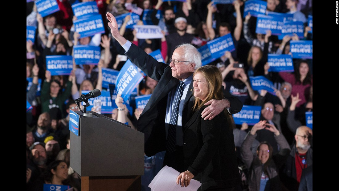 "U.S. Sen. Bernie Sanders waves to a crowd in Concord, New Hampshire, after <a href=""http://www.cnn.com/2016/02/09/politics/new-hampshire-primary-highlights/index.html"" target=""_blank"">he won the state's Democratic primary</a> on Monday, February 8. Sanders received 60% of the vote, easily defeating Hillary Clinton."