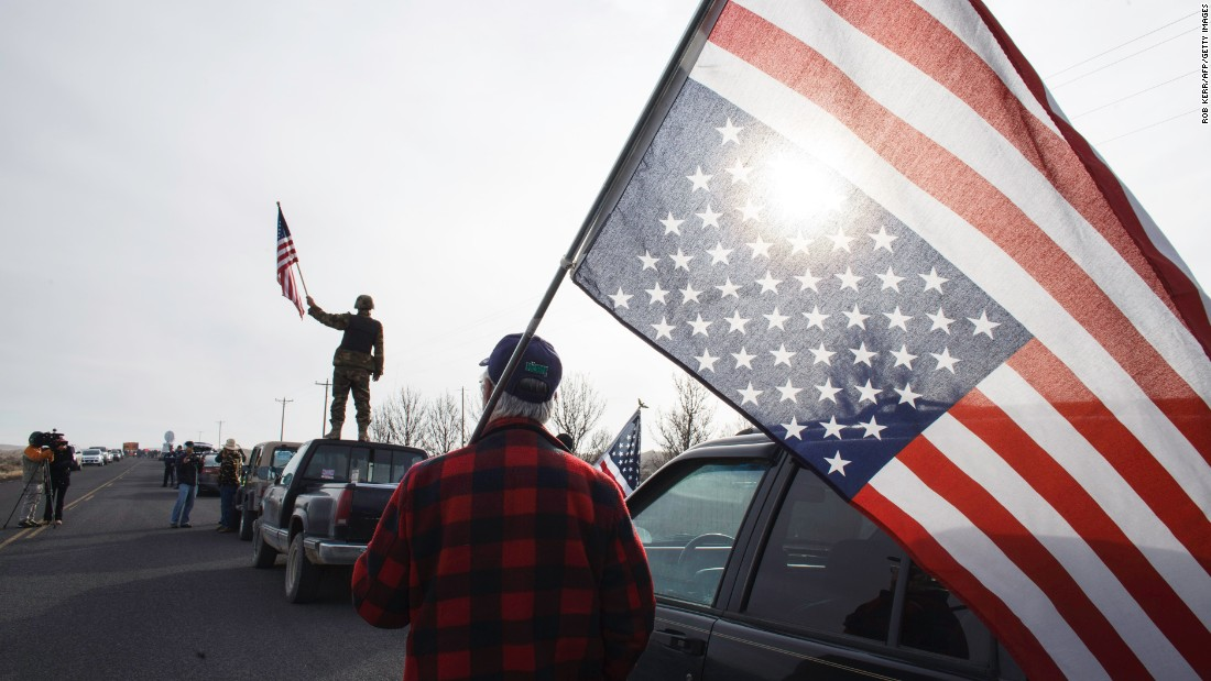 "People show their support for those occupying the headquarters of the Malheur Wildlife Refuge on Thursday, February 11. The federal building in Oregon had been occupied by armed protesters for 41 days until the last remaining ones <a href=""http://www.cnn.com/2016/02/11/us/oregon-standoff/"" target=""_blank"">surrendered to authorities</a> on Thursday."