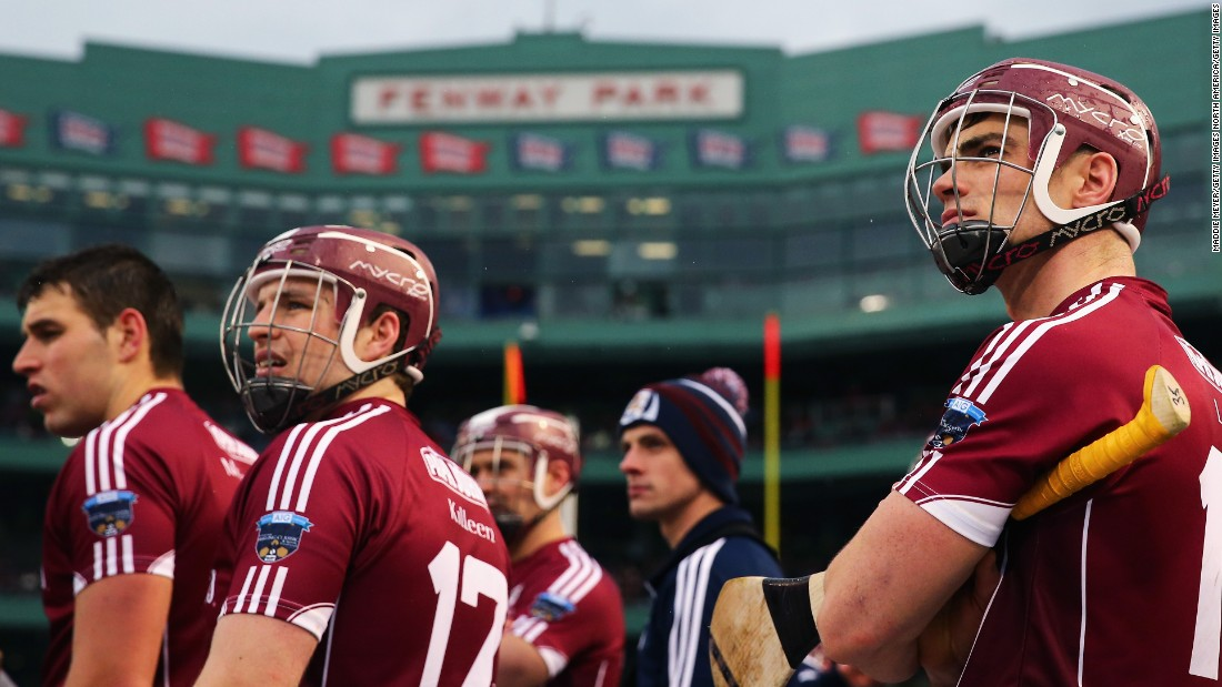 Fenway Park has hosted a number of other sports in recent years. Here, Irish hurling players from Galway look on during a 2015 match against rivals Dublin.