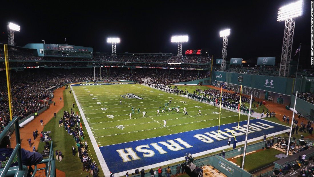 The Boston College Eagles and the Notre Dame Fighting Irish American Football teams faced off at Fenway Park in November 2015.