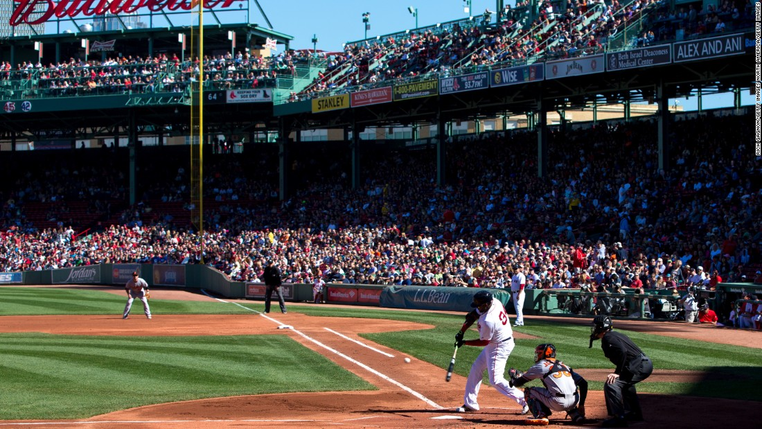 A more traditional view of Fenway Park as slugger David Ortiz swings from the plate against the Baltimore Orioles.