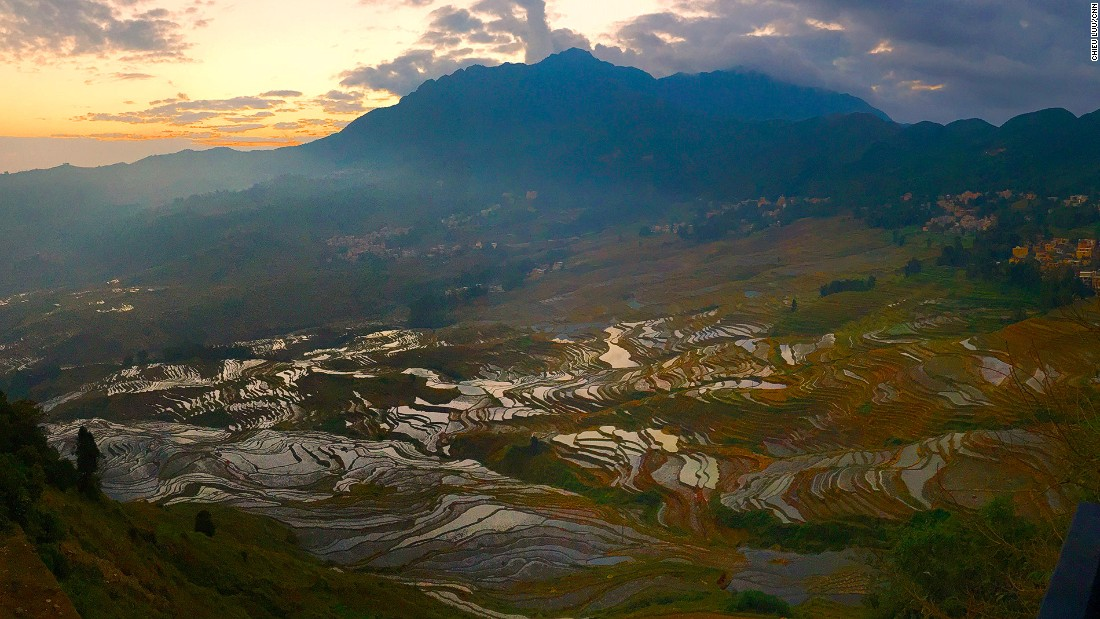 The rice paddy terraces in Yunnan's Yuanyang County were developed by the Hani ethnic group more than 1,300 years ago. The views are even more stunning during sunrises or sunsets.