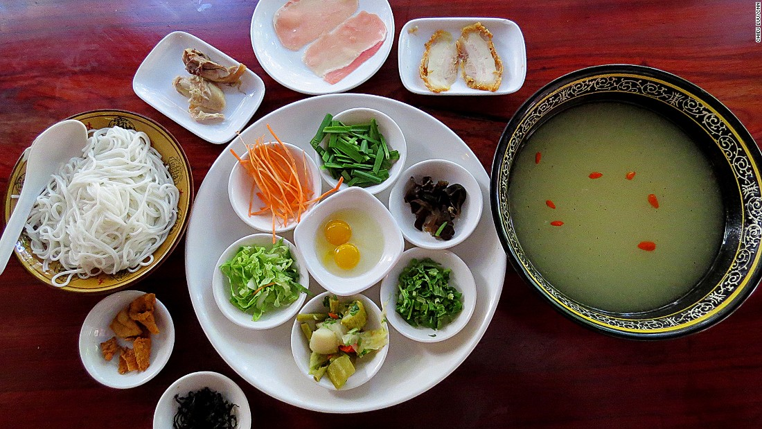Guoqiaomixian is one of the most popular dishes in Yunnan. Ingredients are served separately with a piping hot bowl of chicken soup.