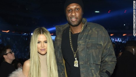 Khloe Kardashian and Lamar Odom attend Kanye West's Yeezy Season 3 show  in New York.