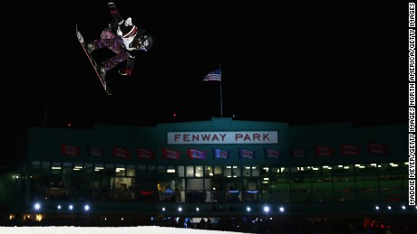U.S. snowboarder Karly Shorr practices for the Ladies Snowboarding event at Fenway Park.