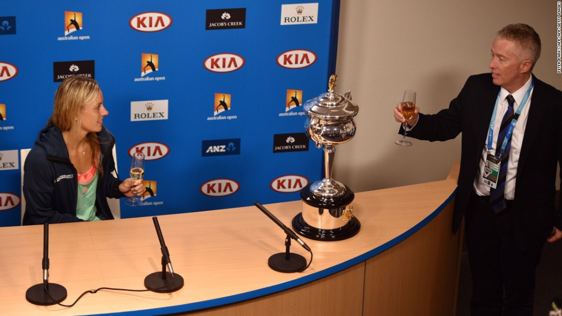 Australian Open tournament director Craig Tiley led a toast to Kerber at her post-final press conference.