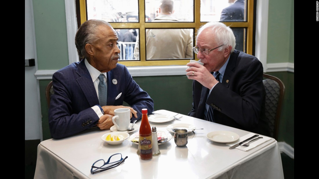 "The Rev. Al Sharpton, talks with U.S. Sen. Bernie Sanders during a breakfast meeting in New York on Wednesday, February 10. <a href=""http://www.cnn.com/2016/02/10/politics/bernie-sanders-al-sharpton-harlem/index.html"" target=""_blank"">The meeting,</a> part of Sanders' effort to court support among the African-American community, lasted about 20 minutes and was initiated by Sanders supporter and former NAACP head Ben Jealous, Sharpton said. Sanders, a presidential candidate, had just defeated Hillary Clinton in New Hampshire's Democratic primary."