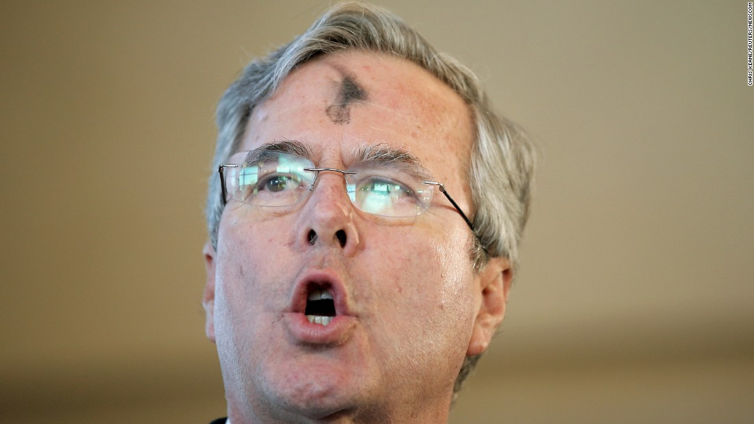 Republican presidential candidate Jeb Bush speaks during a campaign event in Mount Pleasant, South Carolina, on Wednesday, February 10. His forehead was marked in observance of Ash Wednesday.
