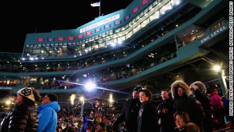 Fans look on at the Big Air at Fenway event in Boston, Massachusetts.
