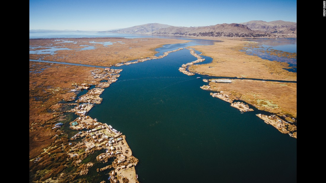 Almost 100 man-made Uros Islands float near the shores of Lake Titicaca. The lake sits at an elevation of over 12,000 feet -- twice as high as Denver.