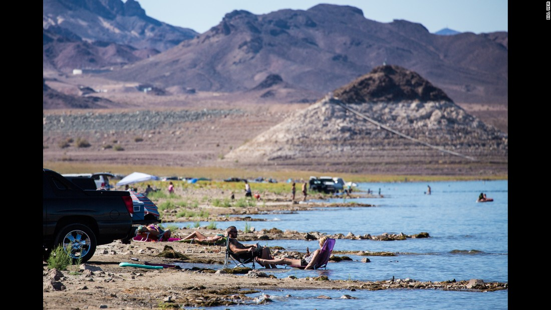 """Recent drought has taken the water levels in Nevada's Lake Mead lower and lower. Levels in the lake, which is a reservoir, are far below the white """"bathtub rings"""" created by previous water levels."""