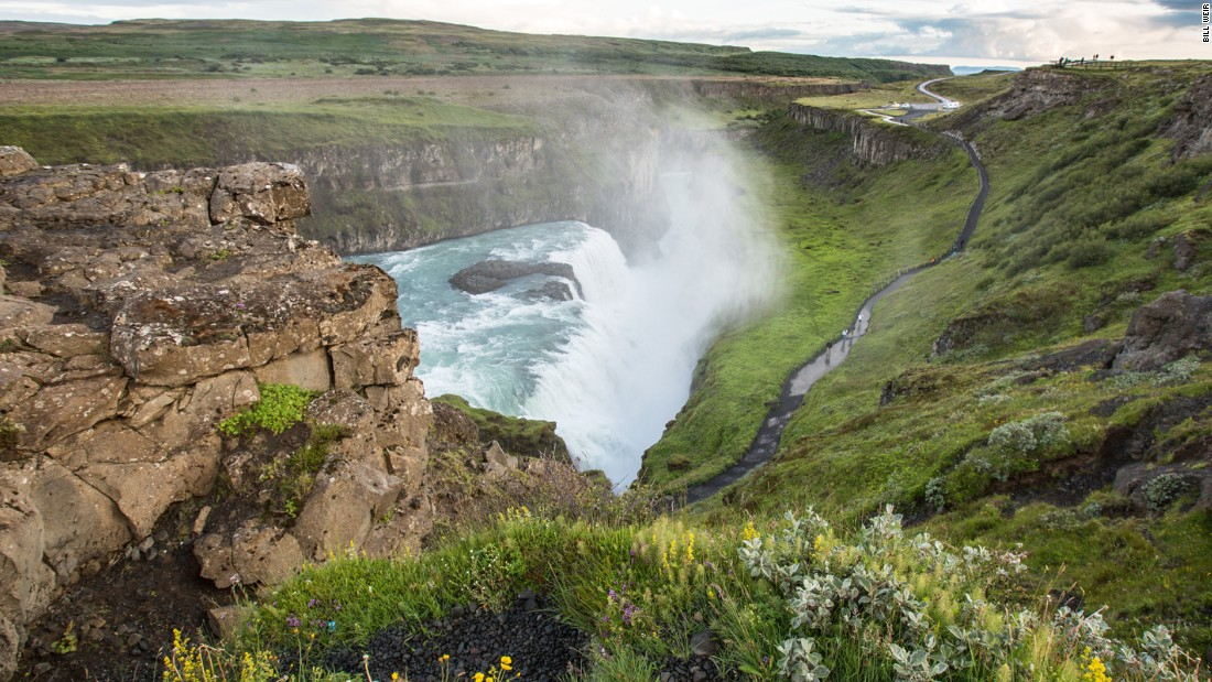 "Gullfoss waterfall is part of Iceland's ""Golden Circle"" of natural wonders. Iceland leads the developed world in clean water and power."