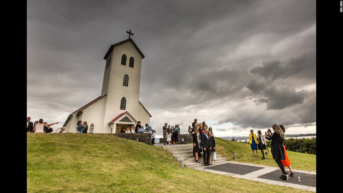 A church hosts a wedding on the outskirts of Reykjavik. Iceland leads the developed world in unwed mothers, with two out of every three kids born to parents who are not married.