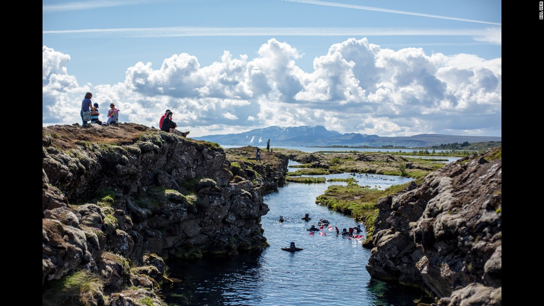 The continental divide at Thingvellir National Park is the only place in the world where you can hold two continental plates at once: the North American plate on one side, the Eurasian plate on the other.