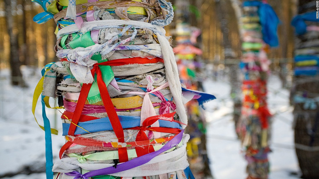 Despite the predominance of Buddhism, many vestiges of shamanism remain across Buryatia. Shamanistic sites known as ovoos attract pilgrims, who adorn nearby trees with ribbons and scraps of cloth as offerings to the spirits.