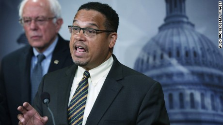 U.S. Sen. Bernie Sanders (I-VT) (L) and Rep. Keith Ellison (D-MN) (R) speak to members of the media during a news conference about private prisons September 17, 2015 on Capitol Hill in Washington, DC.