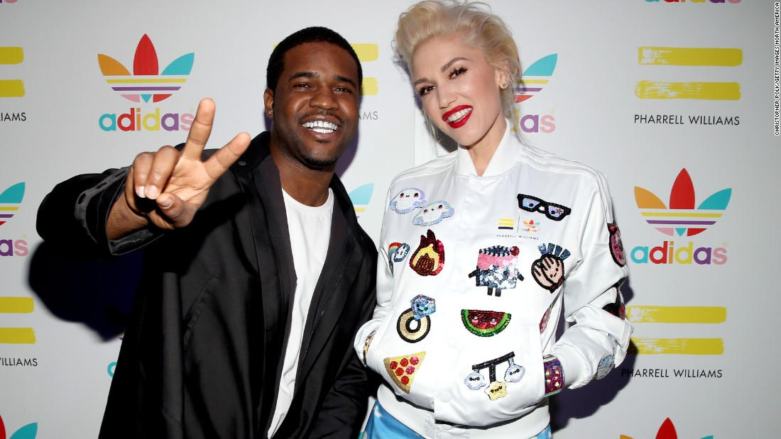 A$AP Ferg and Gwen Stefani attend the collaboration celebration of Pharell Williams and Adidas in Los Angeles