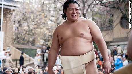 TOKYO, JAPAN - APRIL 04:  Professional Sumo wrestler Endo Shota is seen during the Ceremonial Sumo Tournament or Honozumo at the Yasukuni Shrine on April 4, 2014 in Tokyo, Japan.  (Photo by Keith Tsuji/Getty Images)
