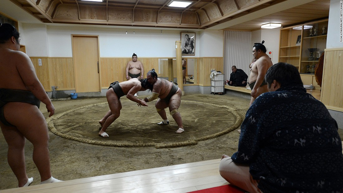 Sumo wrestlers live in a handful of designated stables, or beya, where they eat, sleep, and train. Their practice starts at around 5 a.m. and if visitors call in advance they can watch the showdown for free.
