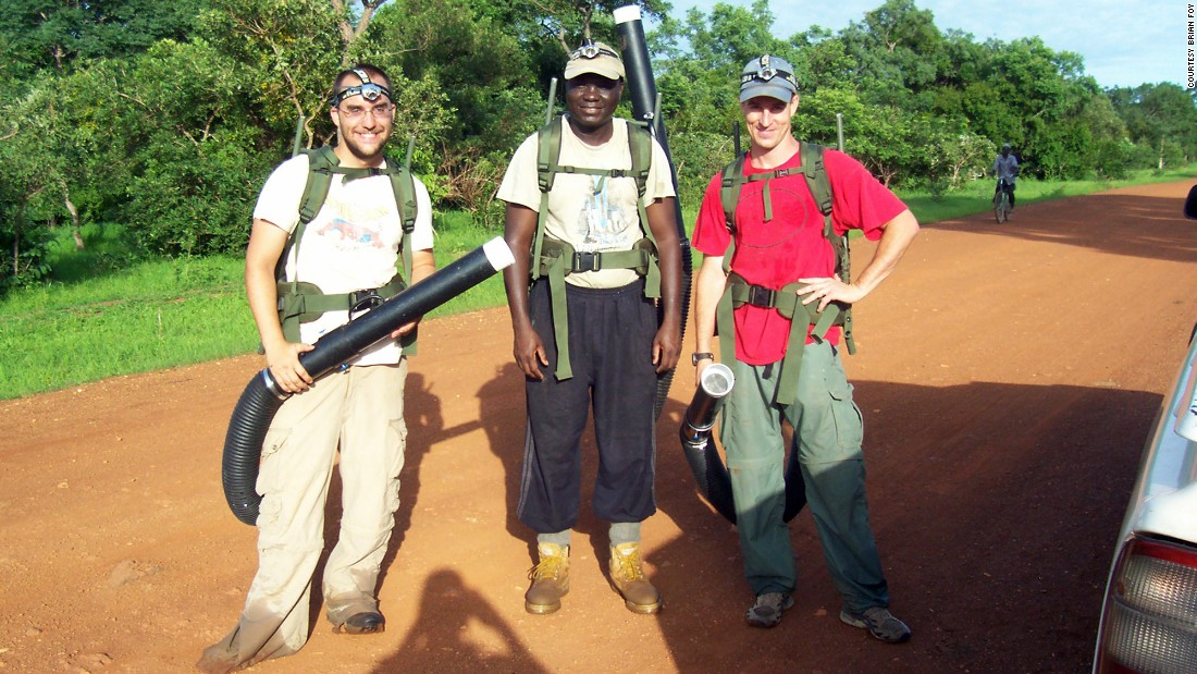 From left: Graduate student Kevin Kobylinski, African researcher Massamba Sylla and CSU microbiologist Brian Foy pause during mosquito collection in Senegal.
