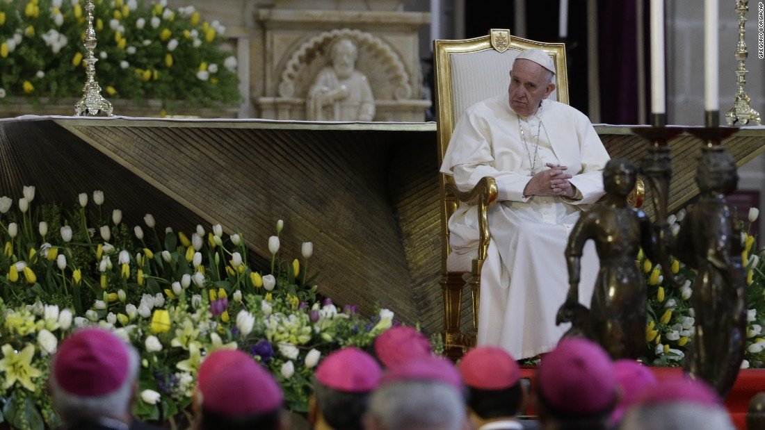 "Pope Francis meets with bishops during his visit to the national cathedral in Mexico City on February 13. The Pope demanded that Mexican bishops challenge the ""insidious threat"" posed by the drug trade."