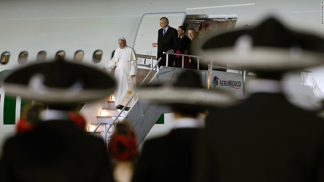 Pope Francis arrives at Benito Juarez International Airport in Mexico City on February 12.