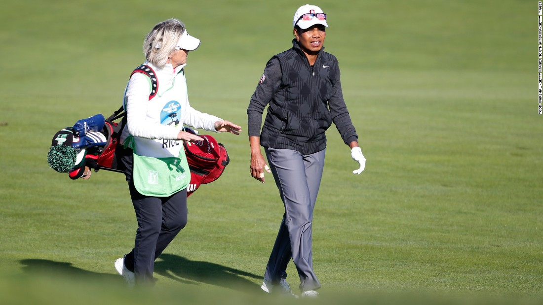 Condoleezza Rice walks down the fairway on the 10th hole at the Monterrey Peninsula course. The former Secretary of State under President Geroge W. Bush is a keen golfer and reportedly a member of the exclusive Augusta National Golf Club in Augusta, Georgia.