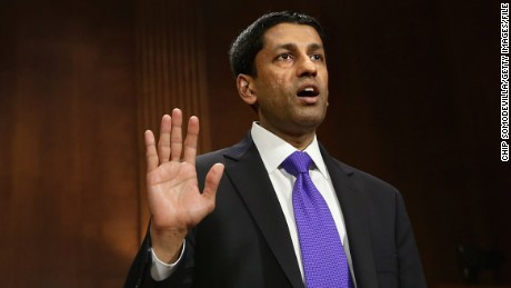 Principal Deputy Solicitor General of the United States Srikanth Srinivasan is sworn in before testifying to the Senate Judiciary Committee on Capitol Hill April 10, 2013.