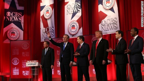 Ohio Gov. John Kasich, Jeb Bush, Sen. Ted Cruz, Donald Trump, Sen. Marco Rubio and Ben Carson participate in a CBS News GOP Debate February 13, 2016, at the Peace Center in Greenville, South Carolina.