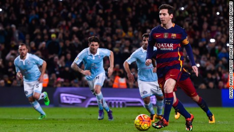 Lionel Messi fakes to take a penalty then passes to teammate Luis Suarez to score his hat-trick and Barcelona's fourth in the 6-1 beating of Celta Vigo.