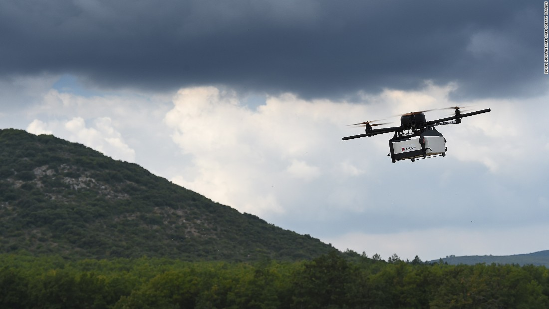 The team believe one of the key challenges in using drones is changing perceptions about the device and understanding that unmanned aircrafts, like drones, can be used for good. Pictured, a prototype of a package delivery drone.