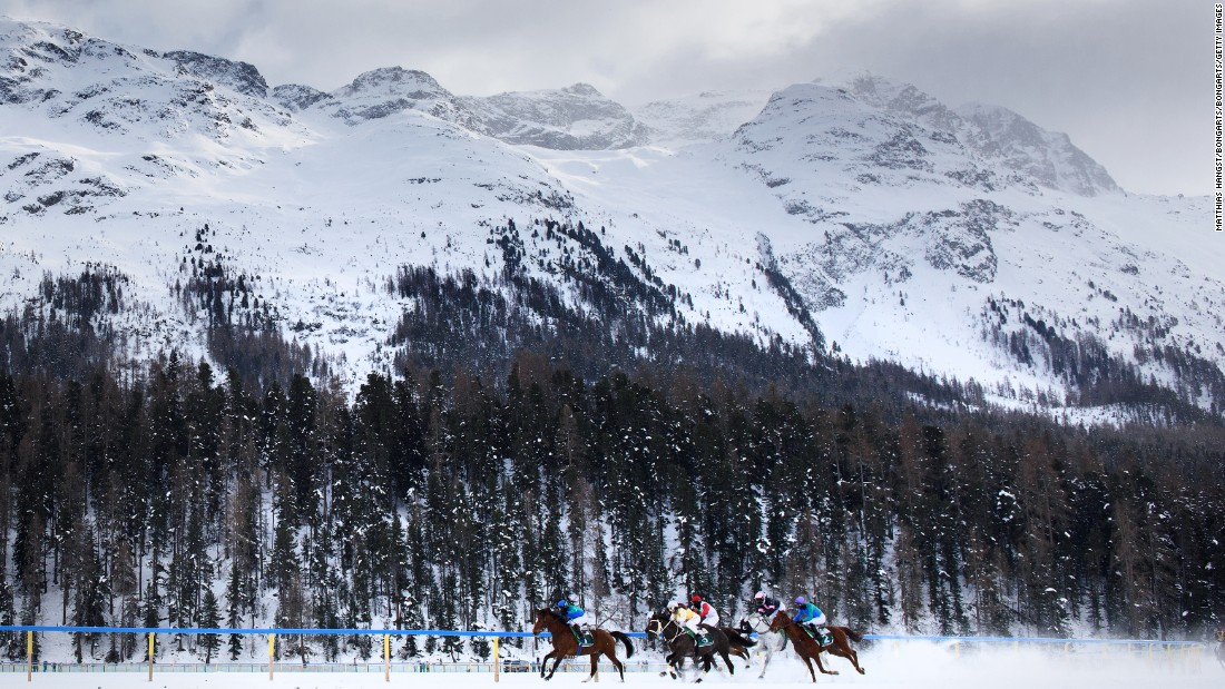 Nestled in the Engadine Valley in the Swiss Alps, the lake of St. Moritz has been playing host to the White Turf races every year since 1907, with each meeting featuring flat racing, hurdling, skijoring and winter-style trotting.