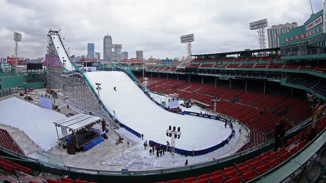 "A skier practices on a ramp set up in Boston's Fenway Park on Wednesday, February 10. Snowboarders and skiers competed in ""big air"" events there on February 11-12."