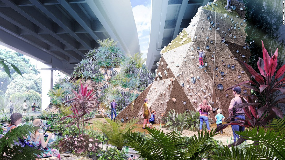 PIE viaduct will be named The Community Cave and filled with yoga decks and a rock-climbing wall.