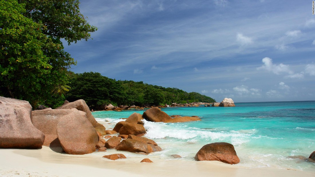 "Anse Lazio on Praslin Island in the Seychelles gets high marks from one TripAdvisor reviewer for ""clean and clear water."""
