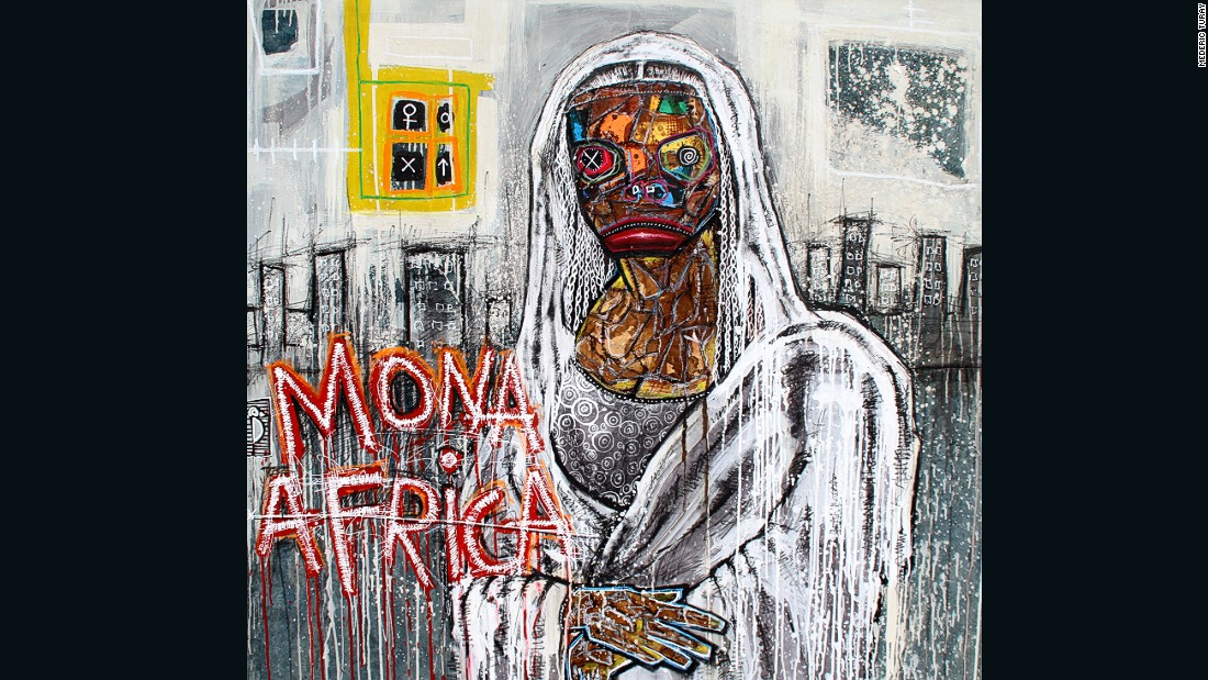 "His piece ""Mona Africa"" is inspired by Leonardo da Vinci's ""Mona Lisa"", and is a special tribute to the human fossil ""Lucy"" discovered in Ethiopia in the 1970's. ""Lucy was the first woman to trace us back to the origins of humanity,"" says Turay."