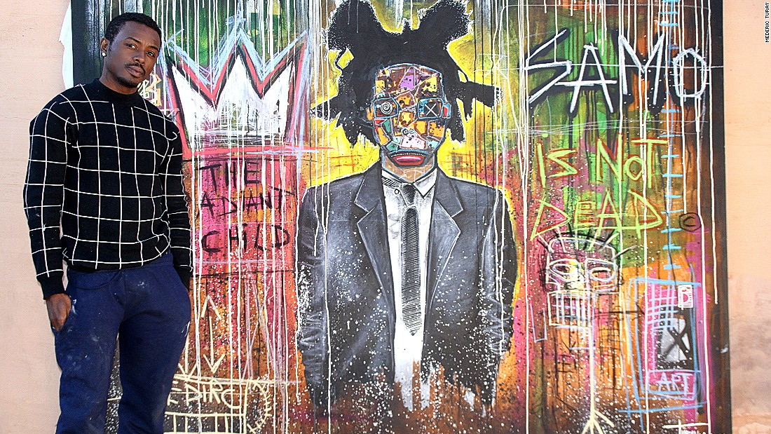 "Turay admires and identifies with Jean-Michel Basquiat, an African-American artist who gained fame in the 1970s and 80s. ""He didn't have any boundaries around who inspired him,"" he adds. ""I don't like boundaries either, which is why you can see the influence of Basquiat, Pablo Picasso and Salvador Dali in my paintings."""