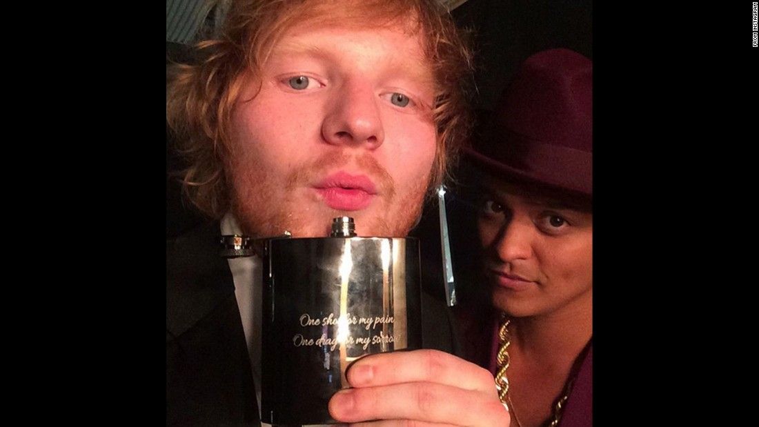 "Singers Ed Sheeran, left, and Bruno Mars <a href=""https://www.instagram.com/p/BB1T9OdO87B/"" target=""_blank"">take a photo together</a> after the Grammy Awards on Monday, February 15. Sheeran won song of the year for ""Thinking Out Loud."" ""Uptown Funk,"" Mars' collaboration with Mark Ronson, won record of the year."