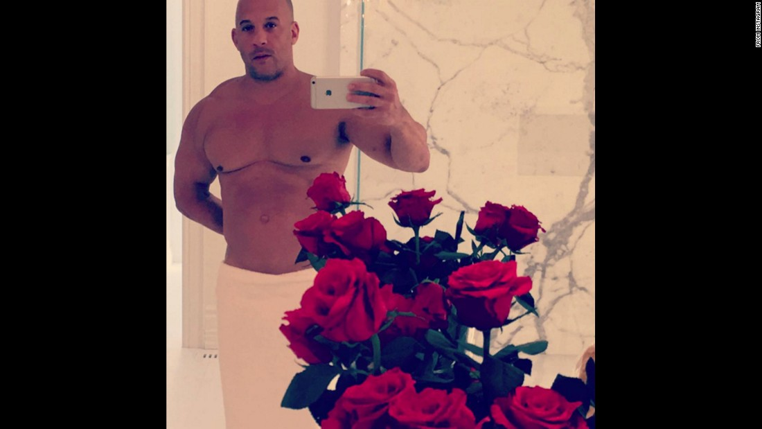 "Actor Vin Diesel took a selfie in a towel as he <a href=""https://www.instagram.com/p/BByKpSPGPnp/"" target=""_blank"">wished his Instagram followers a ""Happy V day""</a> on Sunday, February 14."