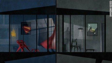 What superheroes' homes look like -- in the eyes of illustrator Federico Babina
