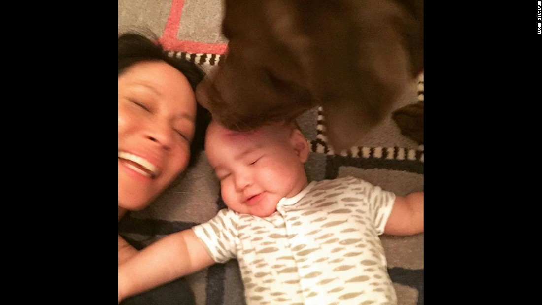 "A dog licks Rockwell, son of actress Lucy Liu, in <a href=""https://www.instagram.com/p/BBnih1KKdT2/"" target=""_blank"">this selfie she posted to Instagram</a> on Sunday, February 14. ""Happy Valentine's Day!"" she said."