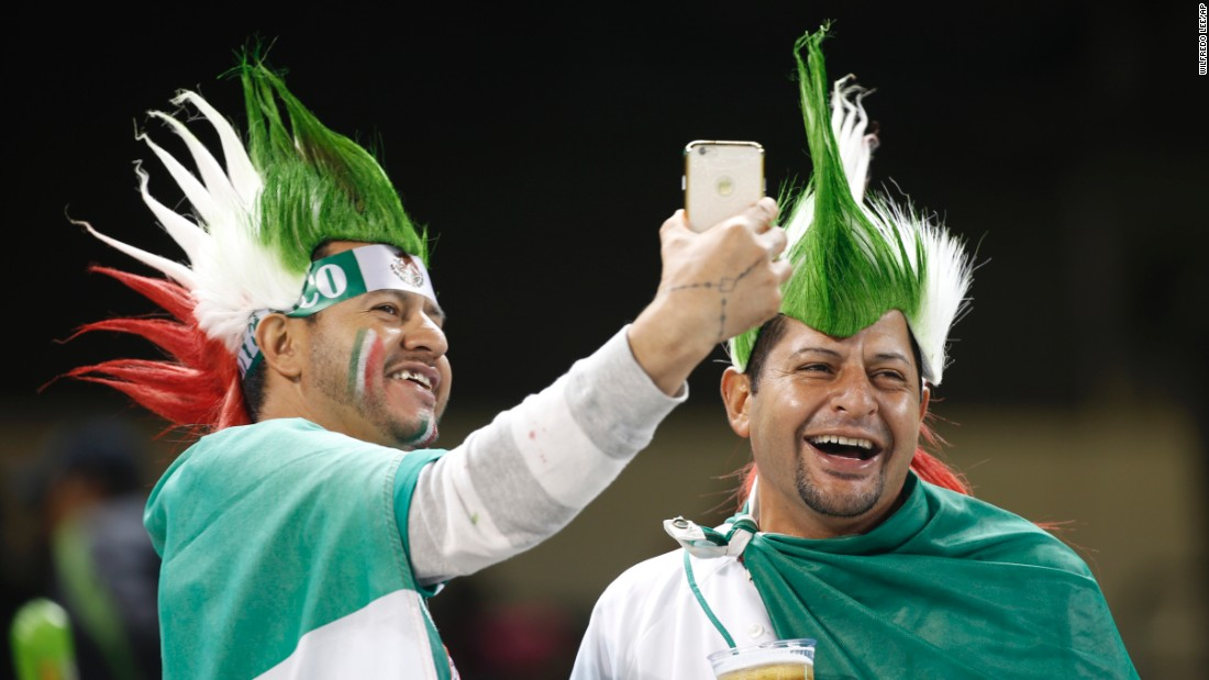 Mexico soccer fans take a selfie before the start of a match in Miami on Wednesday, February 10.
