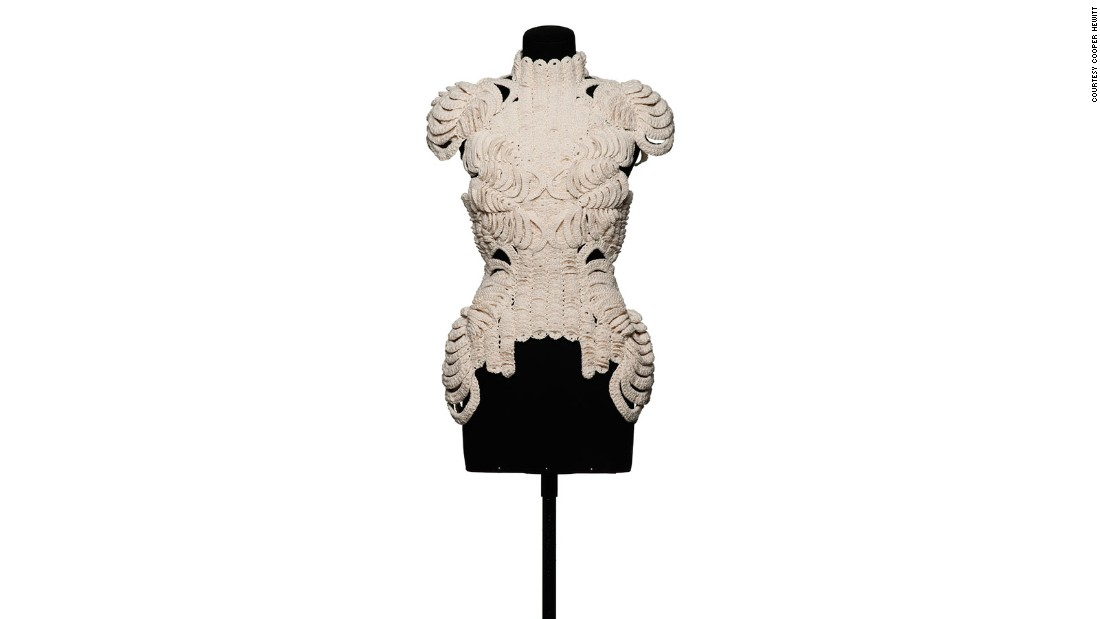 "The designer created this intricately woven dress as a means to change the form of a silhouette, in order to ""shape the idea of the body using clothes."""