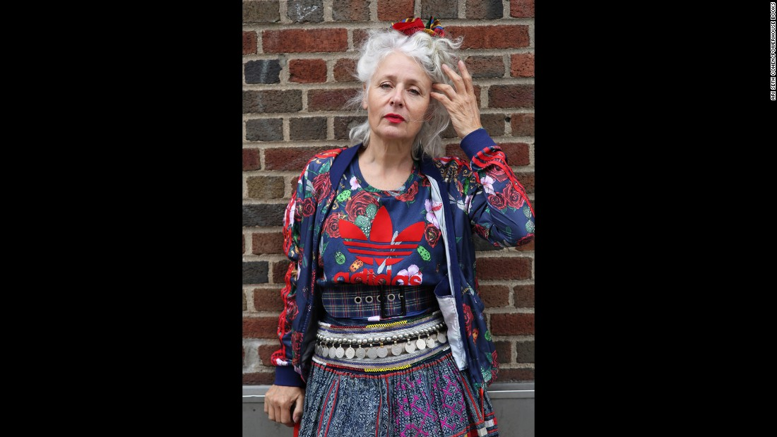 "Sarah-Jane Adams, 60, is one of the fashionable people featured in Ari Seth Cohen's new photo book ""Advanced Style: Older and Wiser."" Many of the photos come with first-person accounts from the subject. ""My wrinkles do not scare me,"" Adams says in the book. ""I see them as a badge of honor and a mark of roads traveled and experiences had. Why would I not be proud and happy to show them? I am growing into the face I deserve and a face that reflects who I am and what I have been."""