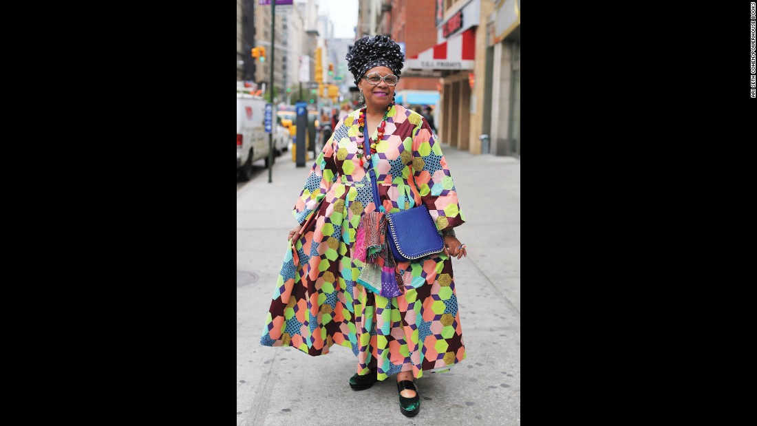 "<strong>Maureen Gumbe, 68: </strong>""Style emanates from my soul and reflects feelings, colors, uniqueness, confidence in the choice of clothing and accessories I wear. A whimsical touch makes me feel different from others."""